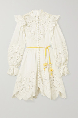 Zimmermann Carnaby Belted Ruffled Broderie Anglaise-trimmed Linen Mini Dress - Ivory