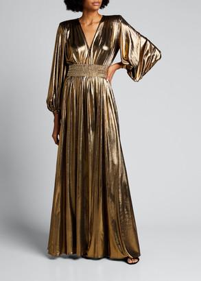 Bronx and Banco Zoe Metallic Lame Blouson-Sleeve Gown