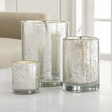 Crate & Barrel Bubbled Silver Glass Hurricane Candle Holder