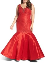 Mac Duggal Plus Size Women's Embellished Lace & Taffeta Mermaid Gown
