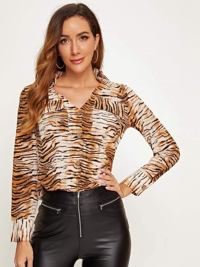 Shein Tiger Pattern Print Flap Pocket Front Shirt