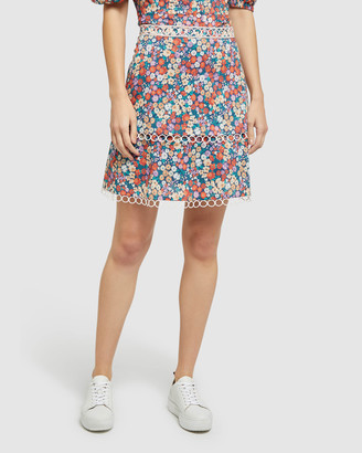 Oxford Women's Mini skirts - Greta Ditsy Floral Skirt - Size One Size, 6 at The Iconic
