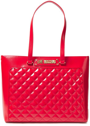 Love Moschino Quilted Metallic Faux Leather Tote