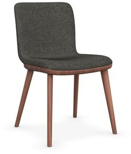 Calligaris Annie Fabric Upholstered Side Chair Upholstery Color: Taupe, Leg Color: Walnut