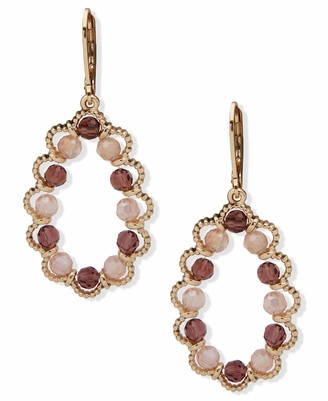 lonna & lilly Open Drop Beaded Earrings Gold And Burgundy
