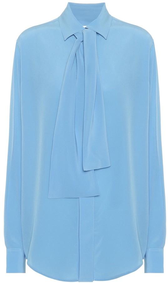 Victoria Beckham Silk-crepe tie-neck blouse