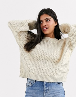 New Look recycled yarn balloon sleeve jumper in oatmeal-Cream