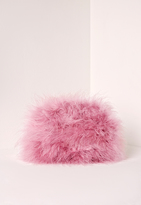 Missguided Feather Clutch Bag Pink