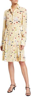 Victoria Victoria Beckham Jazz Print Pleated Button-Front Dress
