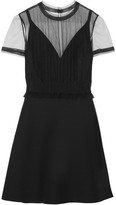 Valentino Tulle-panelled Wool And Silk-blend Crepe Mini Dress - Black