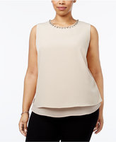 Calvin Klein Plus Size Embellished Layered Shell