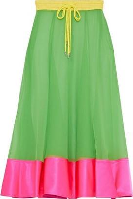 Prabal Gurung Satin-paneled Silk-georgette Midi Skirt