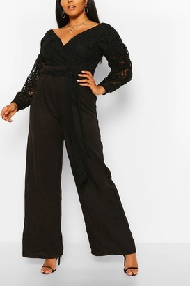 boohoo Plus Lace Off The Shoulder Wide Leg Jumpsuit