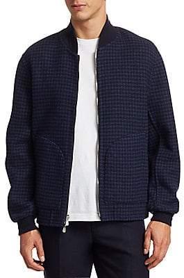 Brunello Cucinelli Men's Houndstooth Wool Bomber Jacket