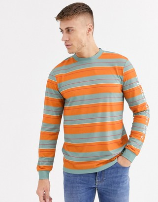 ASOS DESIGN long sleeve striped t-shirt with authentic arm print