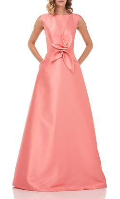 Kay Unger New York Kincaid Sleeveless Twill Ball Gown