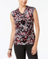 Kasper Cowl-Neck Printed Top