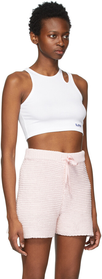 Thumbnail for your product : Sjyp White Cropped Tank Top