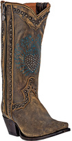 Dan Post Brown Studded Distressed Leather Cowboy Boot - Women