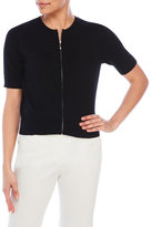 August Silk Three-Quarter Sleeve Zip Cardigan