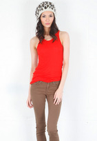 Enza Costa Silk Ribbed Racer Tank in Aurora Red -