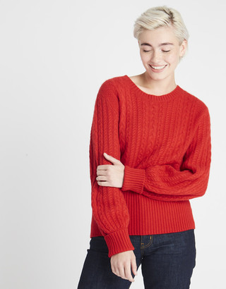 Jumper 1234 - CABLE KNIT CASHMERE JUMPER RED - extra small | red | cashmere - Red/Red
