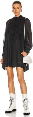 Ganni Smock Chiffon Dress in Phantom | FWRD