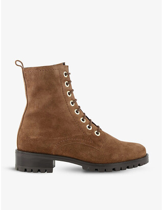 Dune Prestone lace-up suede leather boots