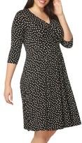 Evans Plus Size Women's Polka Dot Wrap Dress