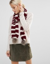 Alice Hannah Seed Stitch Stripe with Fur Trim Scarf