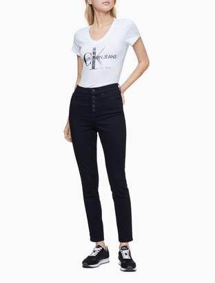 Calvin Klein Metallic Monogram Logo V-Neck T-Shirt