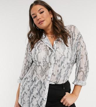 ASOS DESIGN Curve oversize mesh button shirt in snake animal print