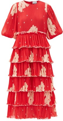 Ganni Tiered Floral-print Pleated-georgette Midi Dress - Red