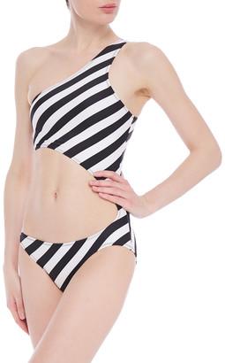 Norma Kamali Shane One-shoulder Cutout Striped Swimsuit