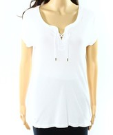 Lauren Ralph Lauren White Women's Size Medium M Lace Up Tee T-Shirt