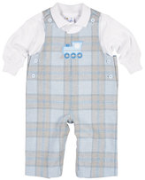 Florence Eiseman Plaid Train Overalls w/ Polo, Size 3-18 Months