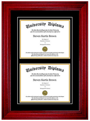 "Perfect Cases, Inc. Double Diploma Frame with Double Matting, Premium Cherry, 11""x17"""