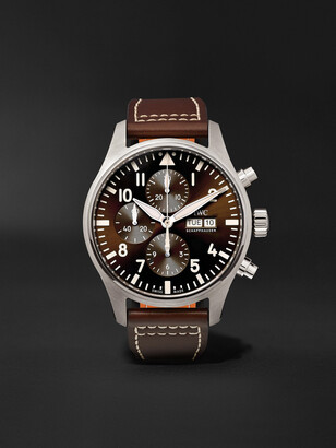 IWC SCHAFFHAUSEN Pilot's Antoine De Saint Exupery Edition Automatic Chronograph 43mm Stainless Steel And Leather Watch