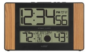 La Crosse Technology Atomic Digital Clock with Temperature and Moon Phase, Oak finish