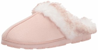 Jessica Simpson Women's Faux Fur Clog-Comfy Furry Soft Indoor House Slippers with Memory Foam