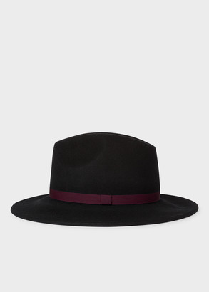 Women's Black Wool Felt Fedora Hat With 'Swirl' Lining