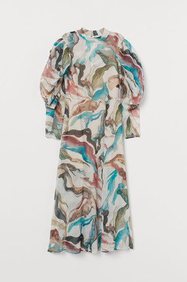 H&M Dress with Stand-up Collar - Turquoise