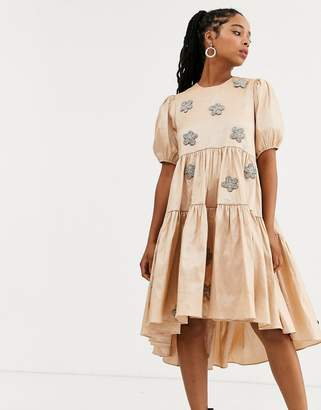 Sister Jane DREAM tiered midaxi dress with puff sleeves and embellished flowers in taffeta-Pink