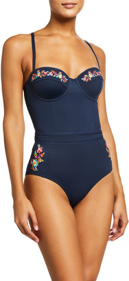 Johnny Was Gold Corset One-Piece Swimsuit