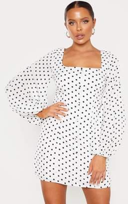 PrettyLittleThing White Polka Dot Square Neck Bodycon Dress