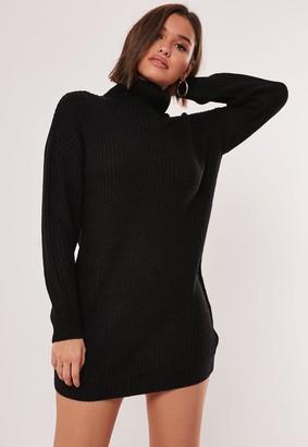 Missguided Tall Black Roll Neck Knit Jumper Dress