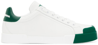 Dolce & Gabbana White and Green Portofino Sneakers
