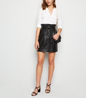 New Look Leather-Look High Waist Mini Skirt