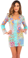 Luli Fama Siren Dance Lace Cut out Plung V Neck Dress in Multi-color (L486965)