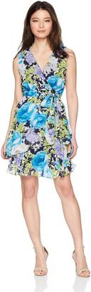 Tiana B T I A N A B. Women's Petite Floral Mock wrap tie Waist Dress